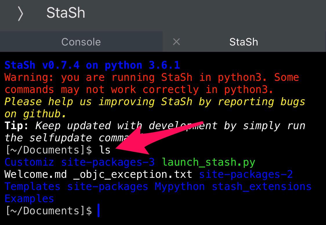 Pythonista StaSh subprocess