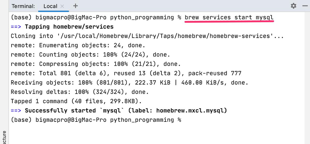 Python Pycharm MySQL