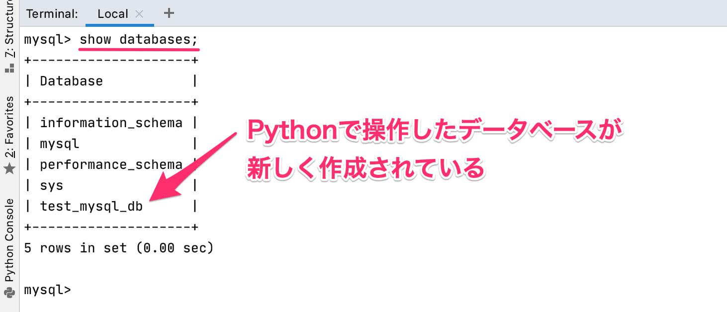 Python Pycharm MySQL データベースの作成