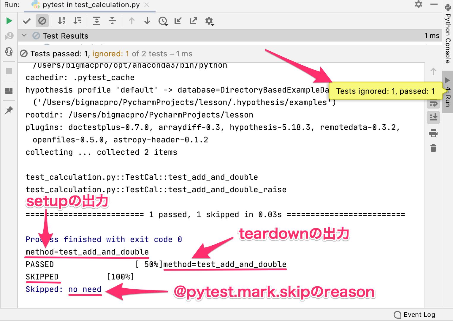 Python pytestでテストをスキップする方法