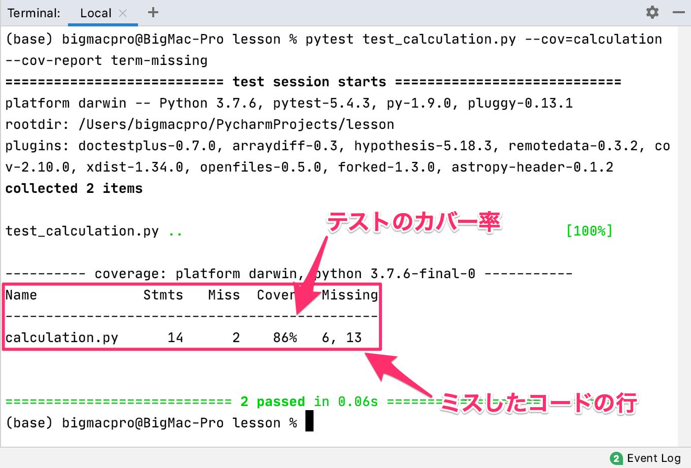 Pythonのpytest-cov