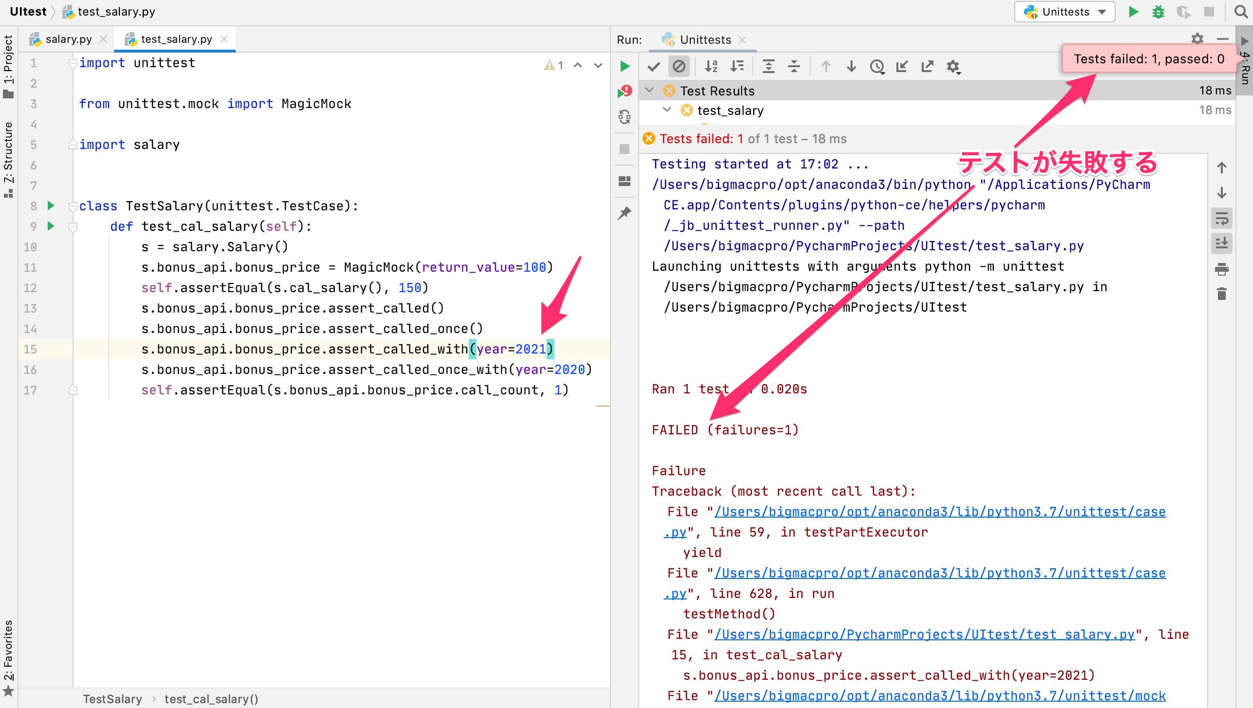 Pythonのテスト 擬似的に結果を代入してテストができるmock.assert