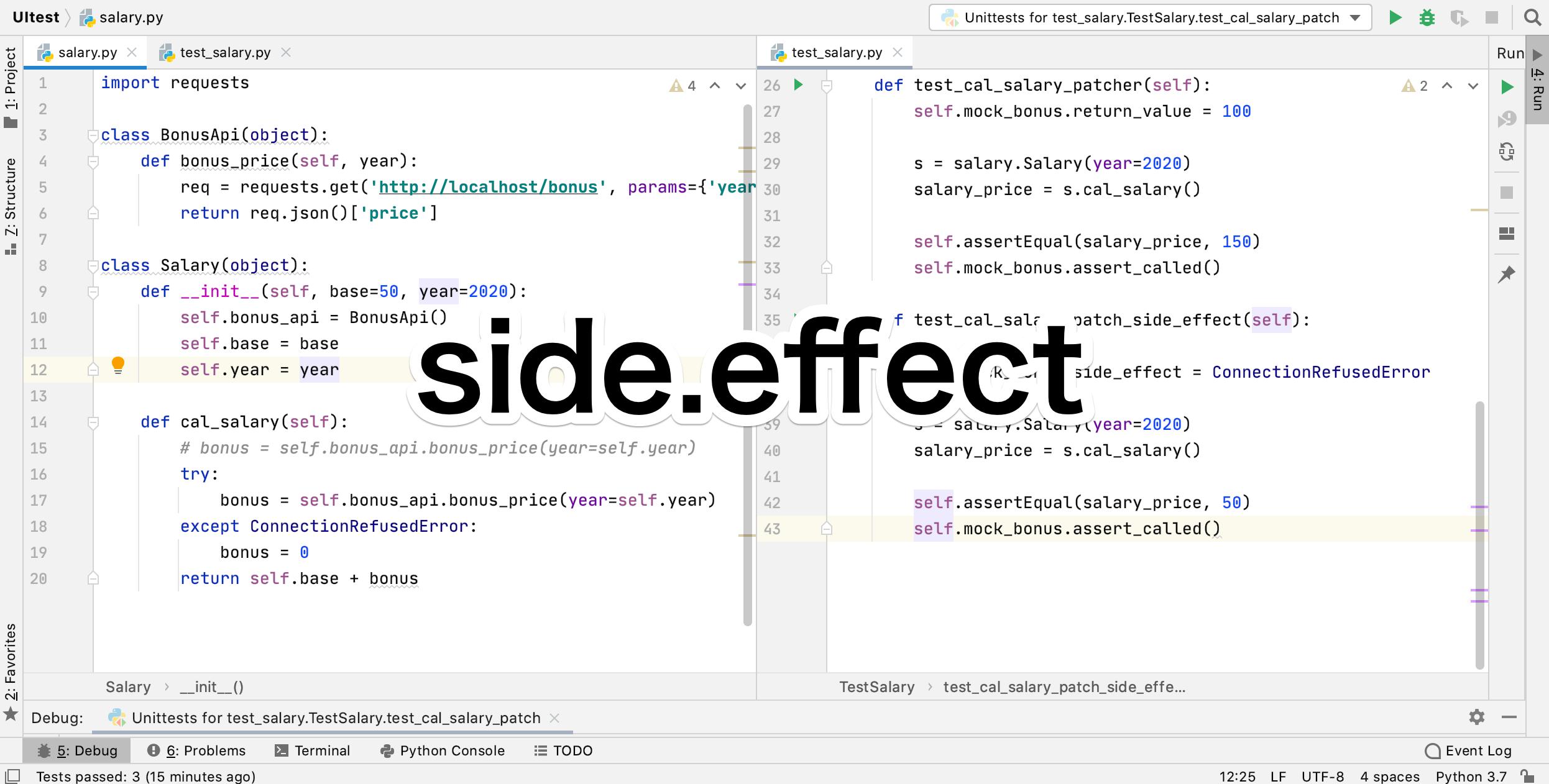 Python mock side_effect