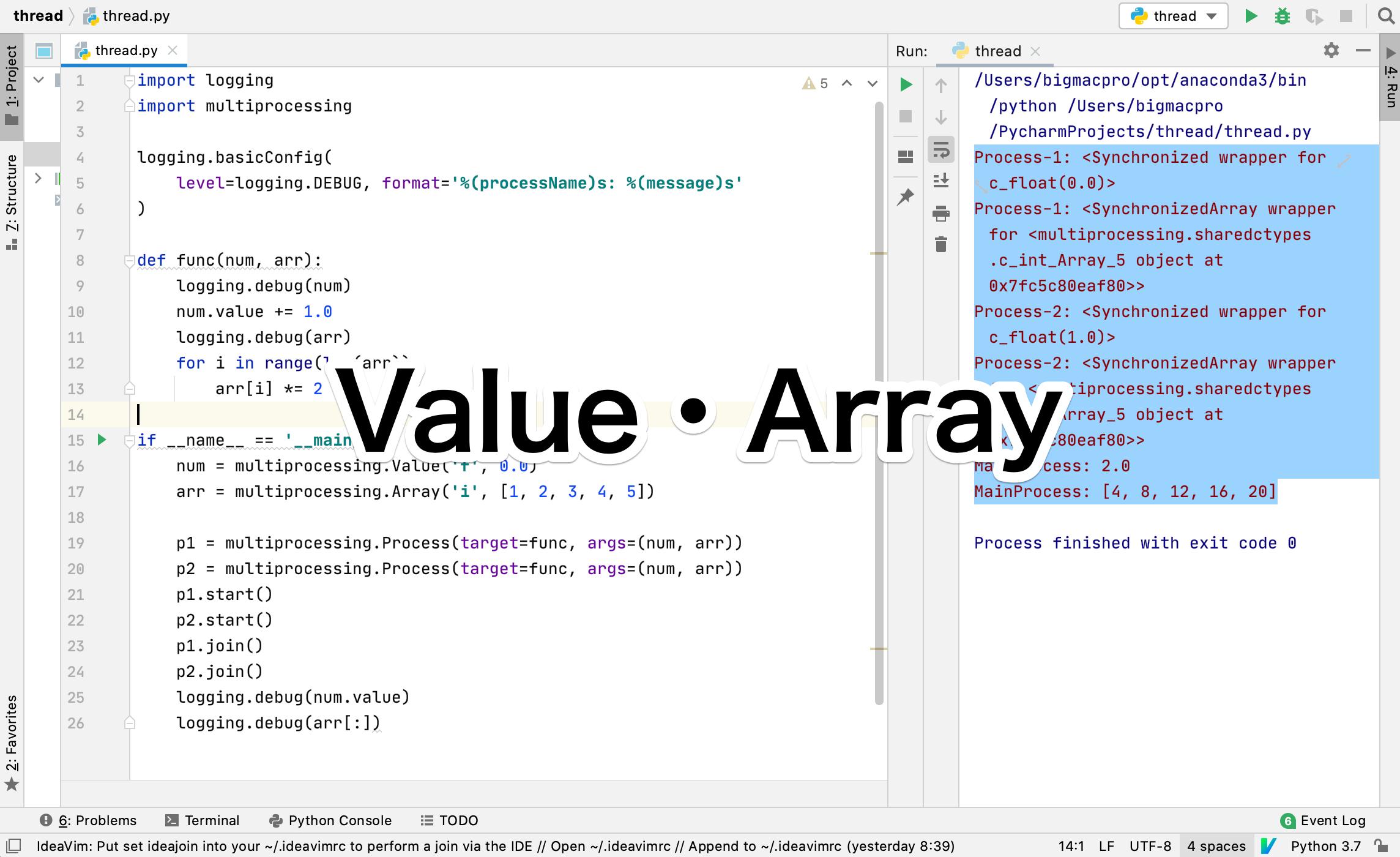 Python Value Array multiprocess