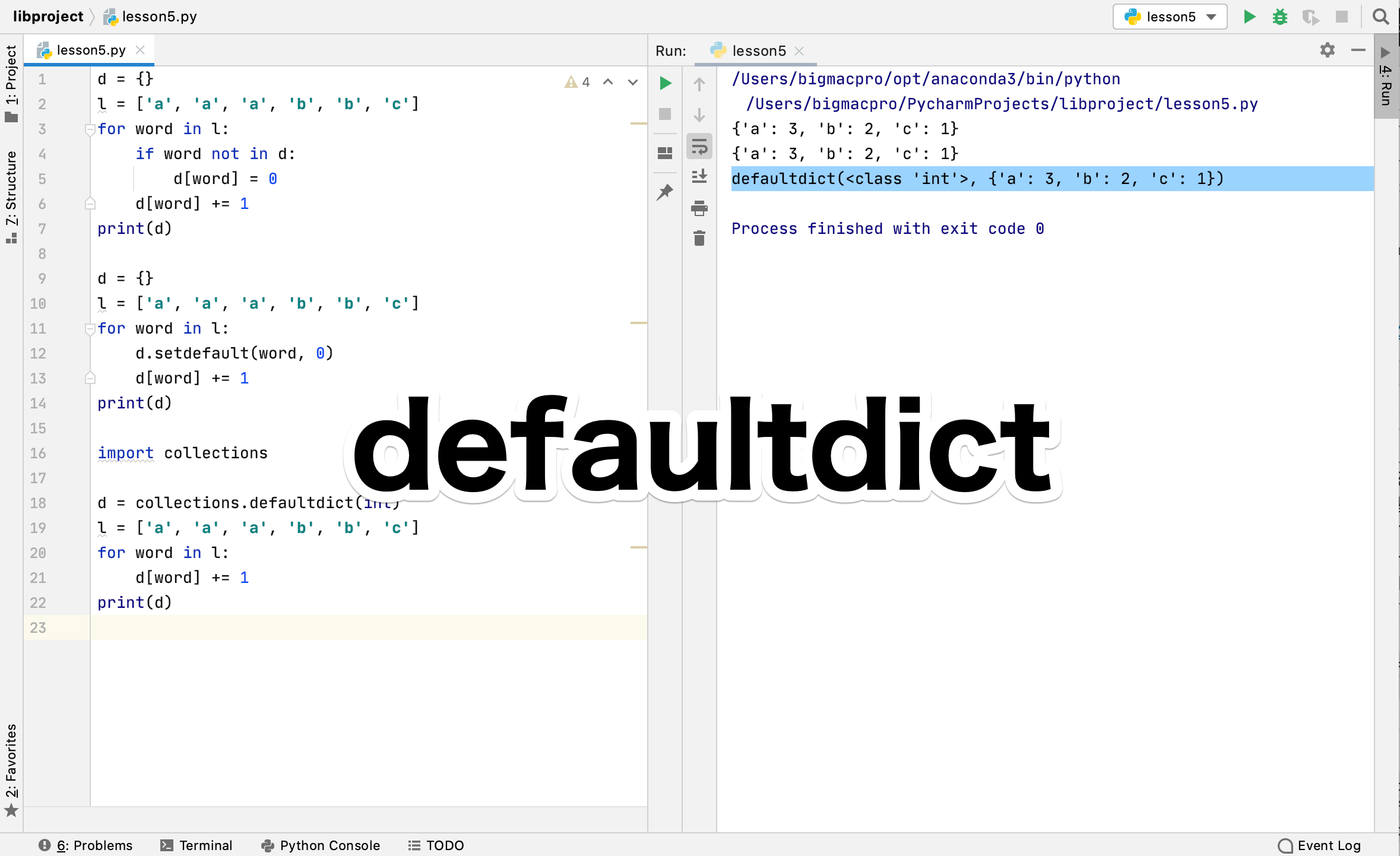 Python collections.defaultdict