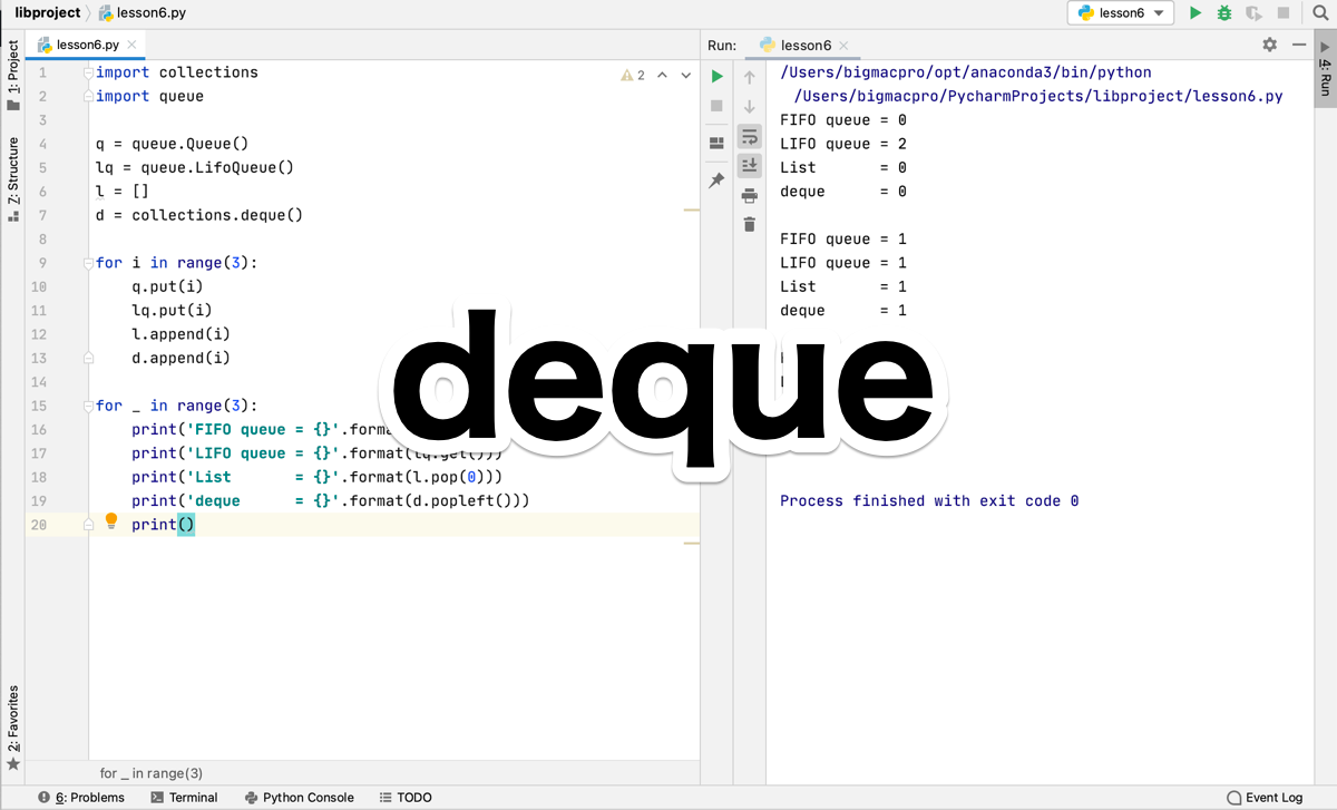 Python collections.deque