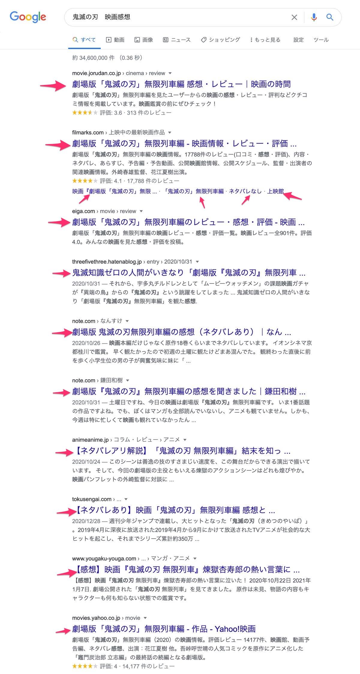 Google検索の結果ページ